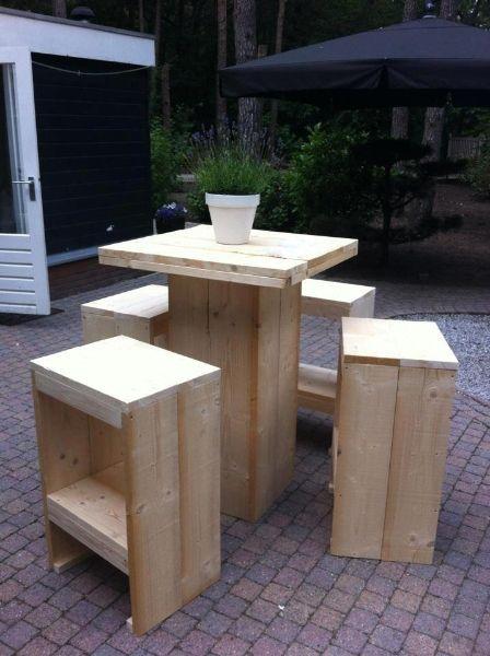 Statafels van steigerhout met bijpassende barkrukken | Bar ombouw van Steigerhout door Steigerhouten Meubelen Boekelo