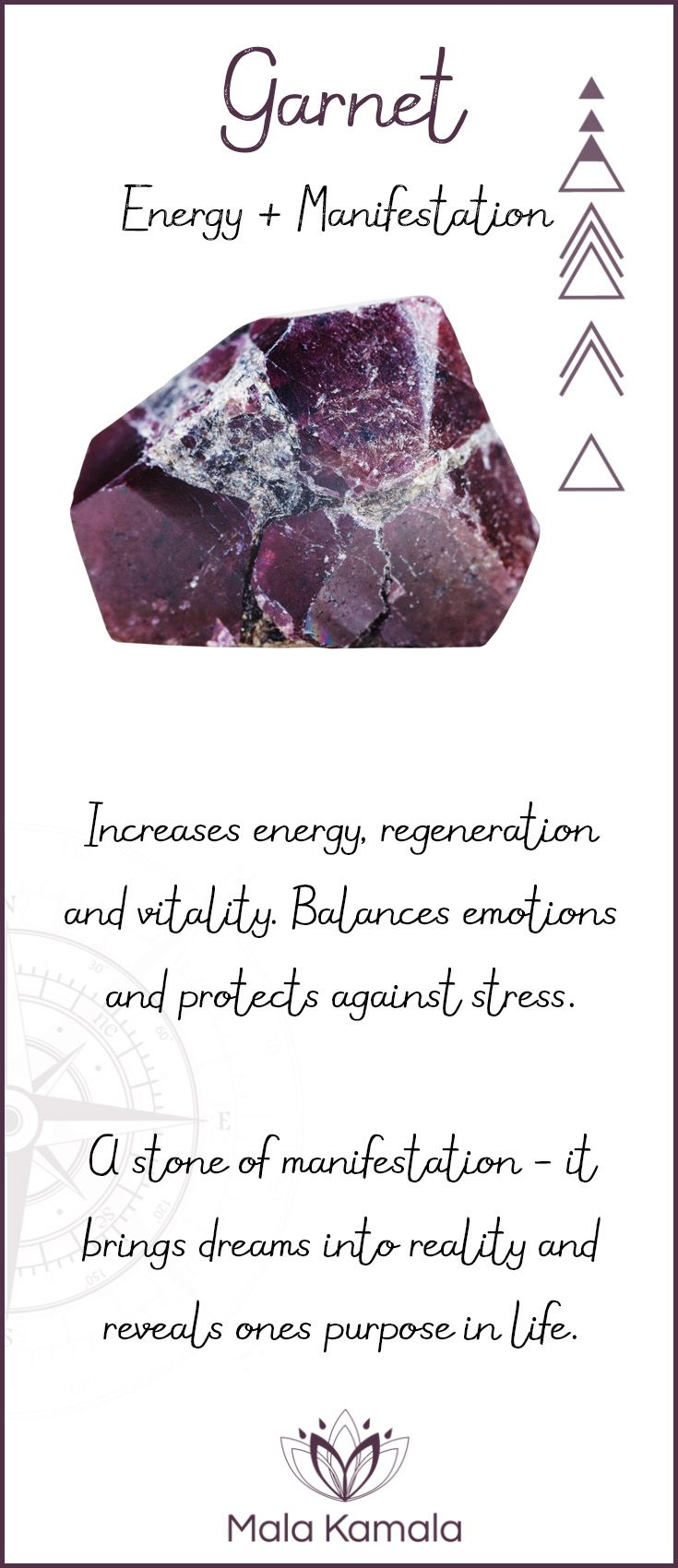 Pin To Save, Tap To Shop The Gem. What is the meaning and crystal and chakra healing properties of garnet? A stone for energy and manifestation. Mala Kamala Mala Beads - Malas, Mala Beads, Mala Bracelets, Tiny Intentions, Baby Necklaces, Yoga Jewelry, Med www.1planet7billionworlds.com