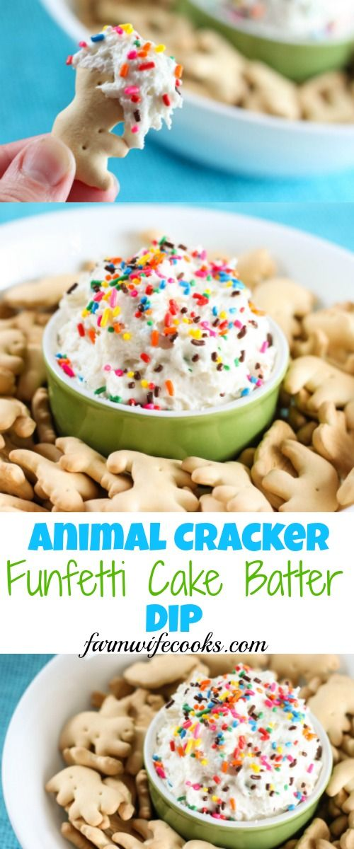 This Animal Cracker Funfetti Cake Batter Dip would make the perfect recipe for a party or family gathering and would also make a fun after school snack. (Favorite Desserts Snacks)
