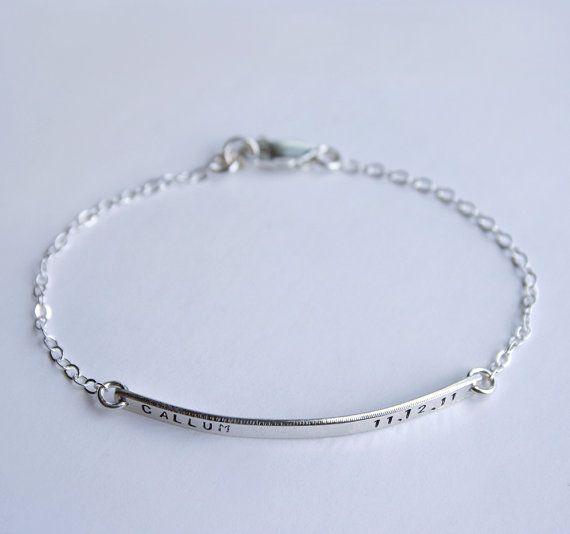 Sterling silver personalized skinny bar bracelet - Nameplate bracelet  with tiny font - Initial name date memory bracelet