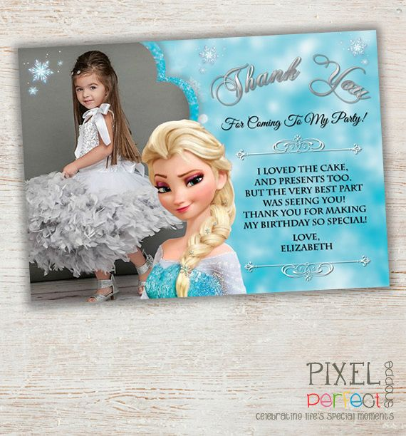 Frozen Thank You Card Birthday Party By Pixelperfectpe
