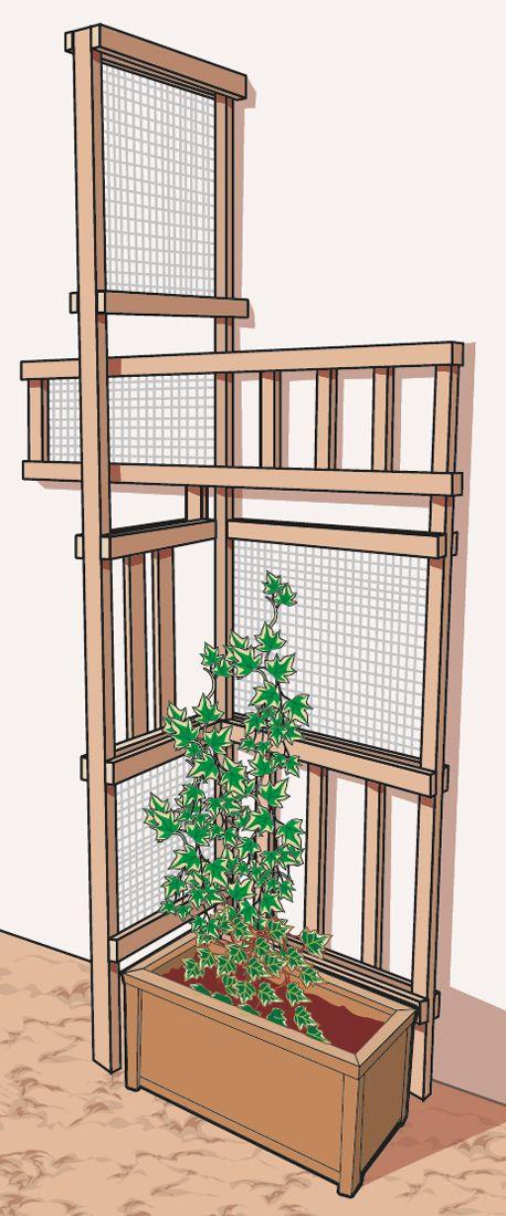 Se si teme di sporcare il muro del balcone o non si vuole forare la parete, si possono realizzare delle strutture freestanding creative: si possono creare dei portali uno dentro l'altro (di legno e rete trasparente) da fissare alla base a fioriere in legno più grandi e pesanti.