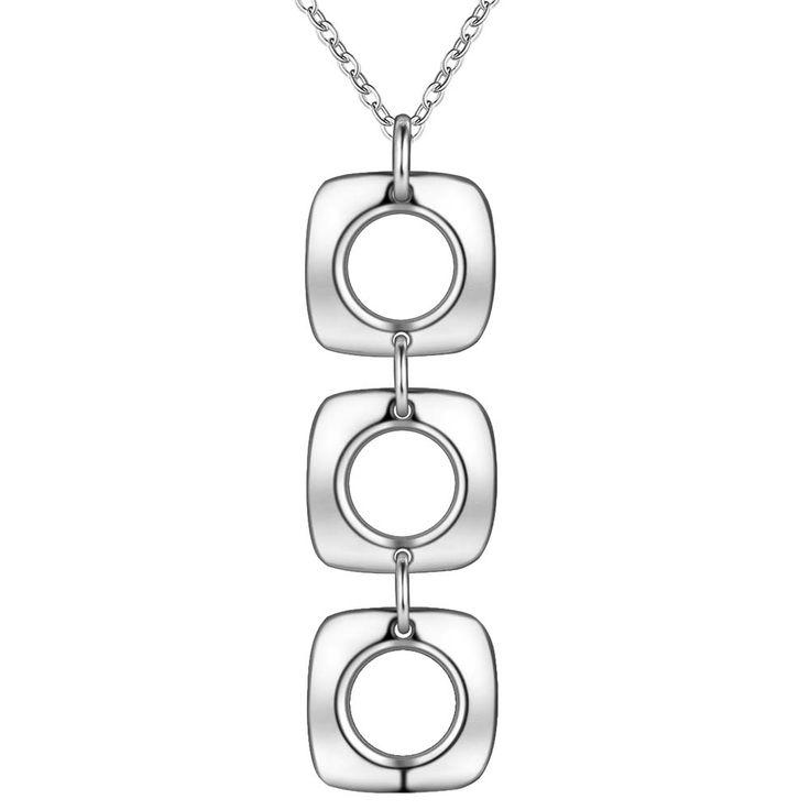 Площадь простой посеребренная Ожерелье Новый Продажи серебряные ожерелья и кулоны/IECUJQTD…