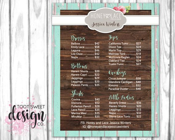 Honey and Lace Price List Poster, Custom Honey & Lace Pricing Chart Sign for Consultants, Marketing kit for H&L, best rustic wood vintage shabby chic design by TootSweetDesignCo on Etsy