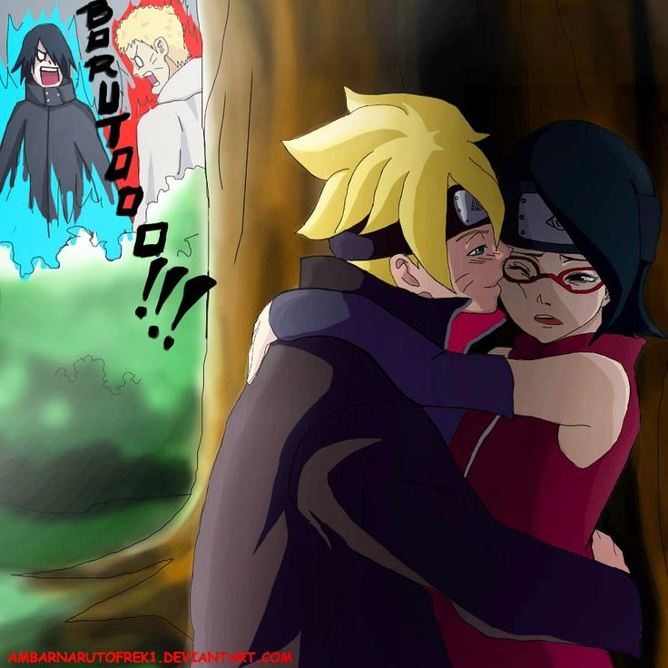 ambarnarutofrek1:  This one has been around quite a lot but as the artist I will upload it once more hee hee. It sickens me that Boruto is missing his red lines on the jacket but oh well it was a first hee! ^///^   I don't ship Borusara but this seem funny and expected.Sasuke and Naruto LOL