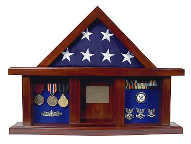 Military Medal Shadow Box Display Case for 3 x 5ft Flag Black Felt - The Classic Shadow Box for 3' x 5' flags and memorabilia will make a beautiful addition to any home or office. With its good looks and durable construction, this piece is sure to become a treasured keepsake. The curved base adds stability and style.