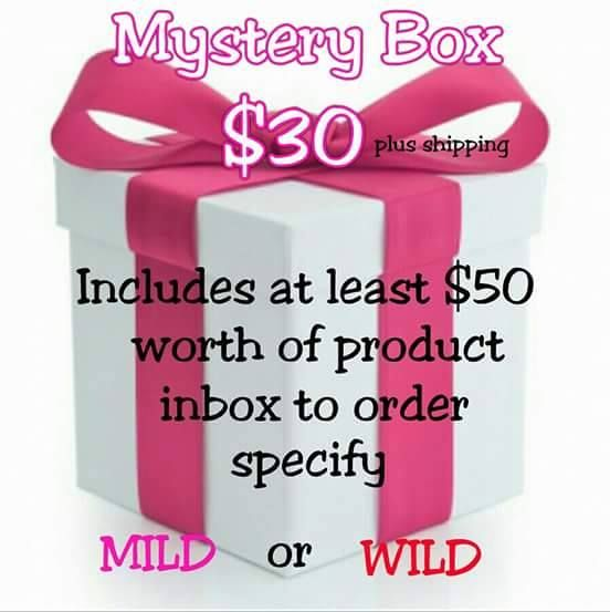 "Order your Pure Romance by Andrea Mystery Box to get some ""Mild"" or ""Wild"" goodies in time for Valentine's Day! Your significant other will ADORE you for it!   Order by emailing me at prbyandreac@gmail.com or text 205.578.8697 with ""Mystery Box order""   Find me on Facebook at www.facebook.com/empoweringwomenallover"
