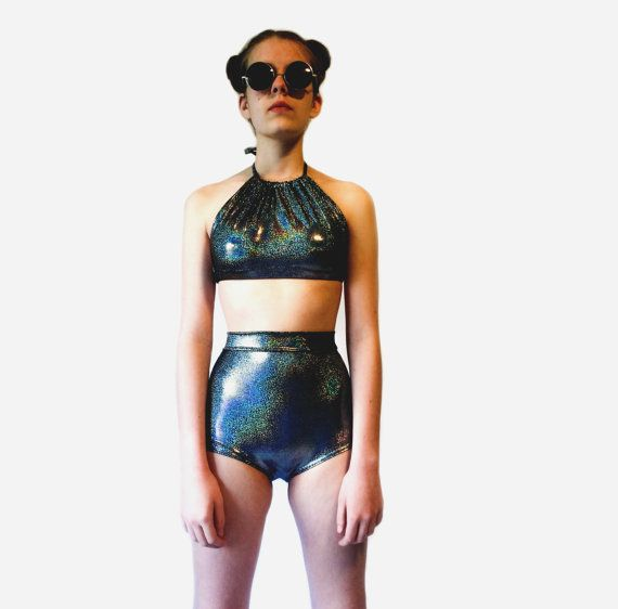 Handmade and Made to Order 90s Inspired Holographic Bikini! *halter neck, ties in back  *stretchy/spandex  *black hologram *high waist bottom