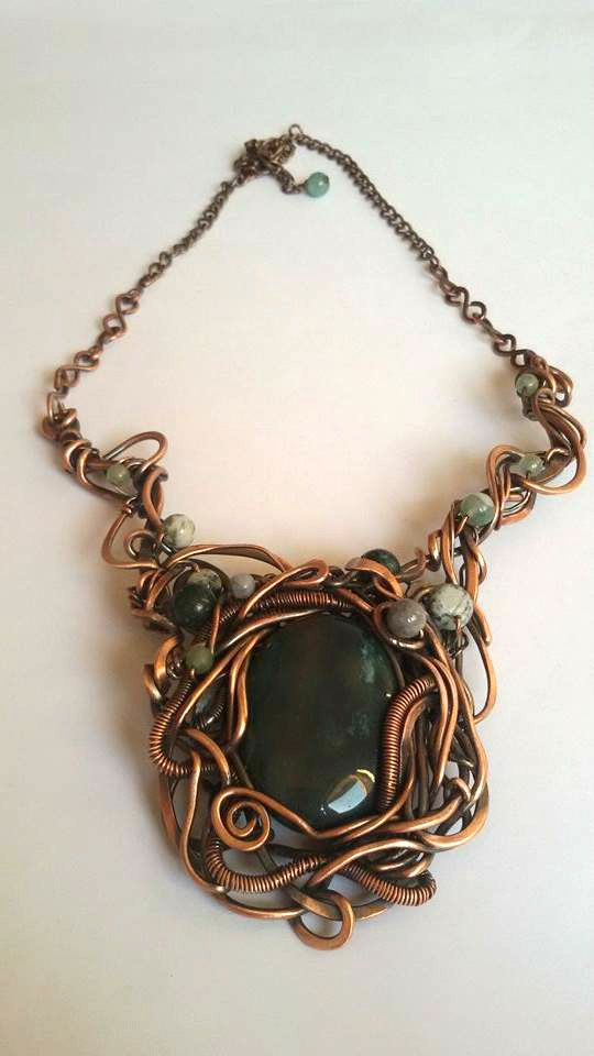 Tangled copper wire wrapped necklace with Blood stone ,Wire wrapped necklace,Statement wire necklace,woodland necklace,Fantasy green stone