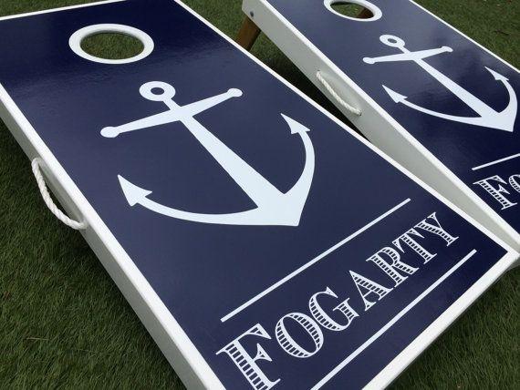 Nautical Anchor Monogram Cornhole Board Set by WGCornhole on Etsy