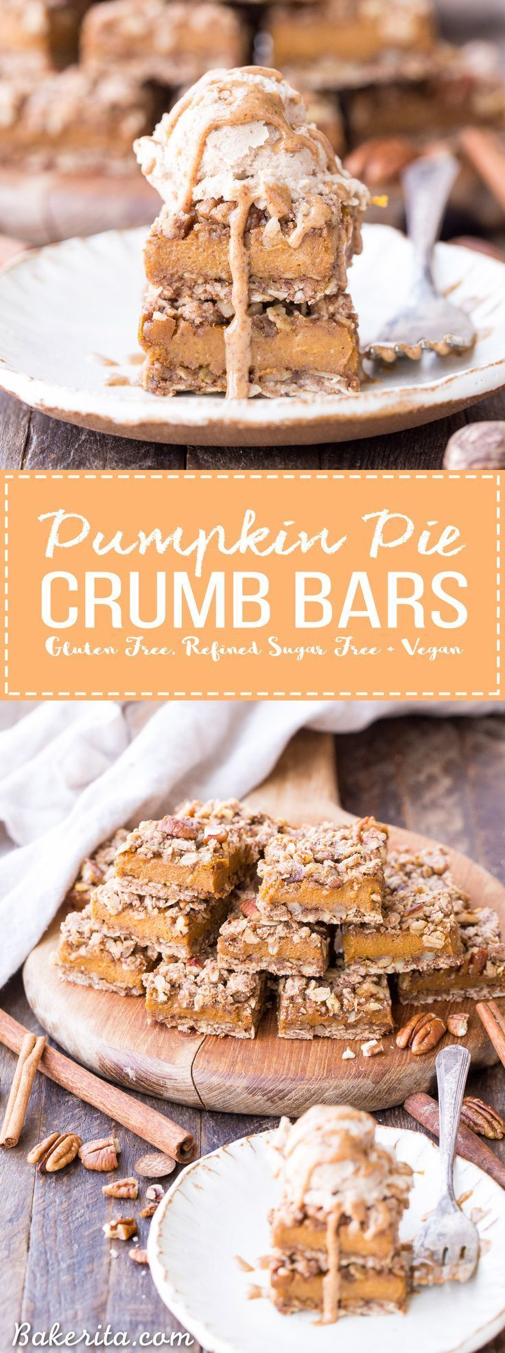 These Pumpkin Pie Crumb Bars have an oatmeal crust and crumble with a smooth and sweet pumpkin pie filling! You'll go nuts for this gluten-free, refined sugar-free and vegan portable pumpkin pie.