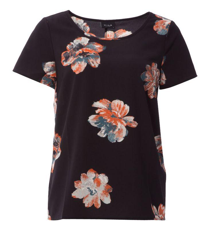 Zwarte t shirt print bloemen vila online bij Deleye.be & BeKult
