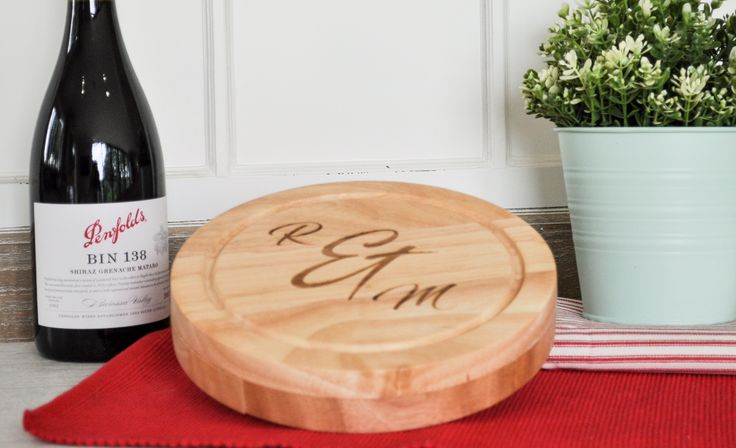 Personalised Wooden Cheese Board Set  Wooden Initial Gifts New Home Gift
