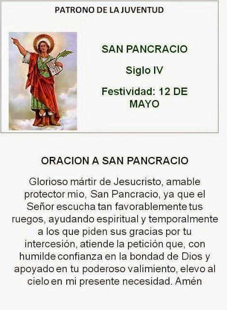 Oración a San Pancracio, patrono de la Juventud.
