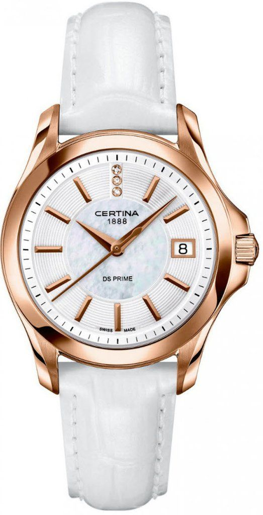 Certina Watch DS Prime Lady Round Quartz #bezel-fixed #bracelet-strap-leather #brand-certina #case-material-rose-gold-pvd #case-width-32mm #date-yes #delivery-timescale-7-10-days #dial-colour-white #gender-ladies #luxury #movement-quartz-battery #official-stockist-for-certina-watches #packaging-certina-watch-packaging #style-dress #subcat-ds-prime-lady #supplier-model-no-c004-210-36-116-00 #warranty-certina-official-2-year-guarantee #water-resistant-100m