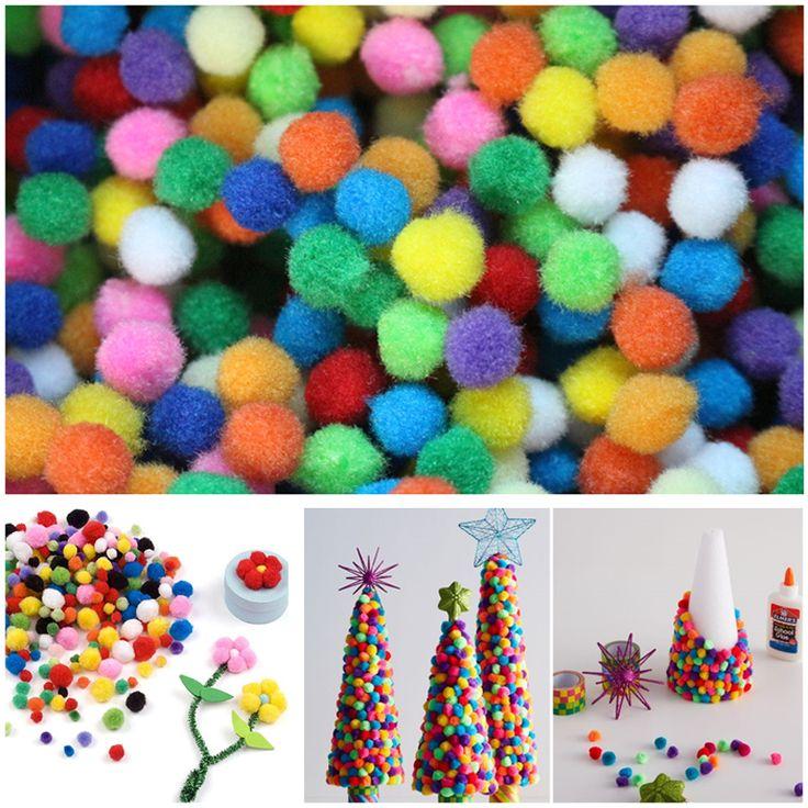 100 stks/partij 10mm multicolor pompon diy pluche ballen thuis decoratieve bloem ambachten speelgoed hoofd kransen kledingstuk accessoires