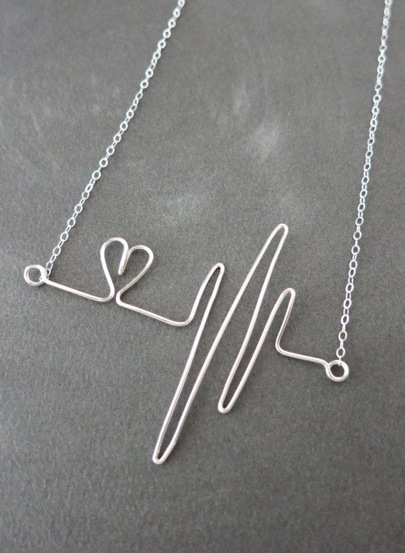 Heartbeat Necklace - Sterling Silver Wired, hand wired heartbeat pendant, doctor, nurse, love, quirky, wire, handmade, gifts for her, www.colormemissy.com
