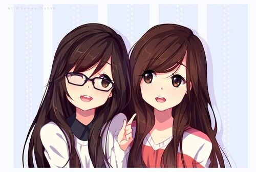 Cute anime twin girls with glasses | (Looks like their opposite too like one popular and one nerdy <3)