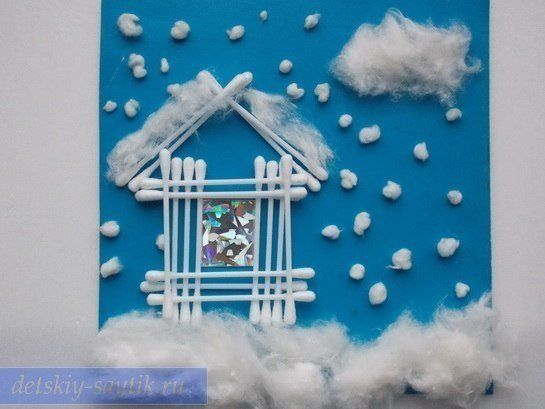 white winter, new year and christmas, a lot of snow, applications of cotton wool with children with their own hands, creativity
