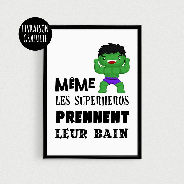"""Poster super héro vert pour enfant - """"Même les superhéros doivent prendre leur bain"""" - Affiche citation"""
