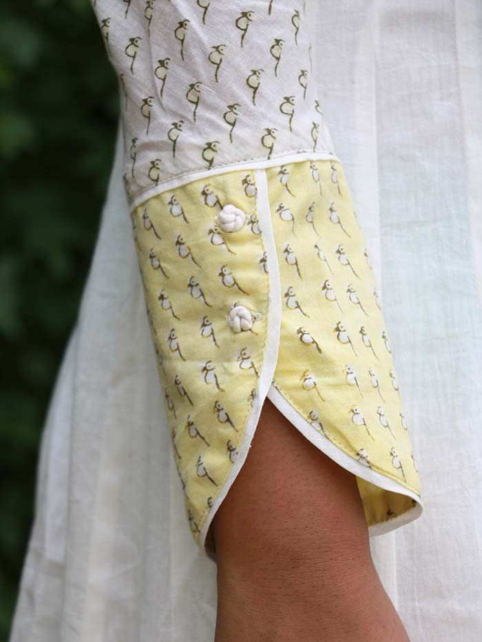 White Cotton Block Printed Boat Neck Kurta