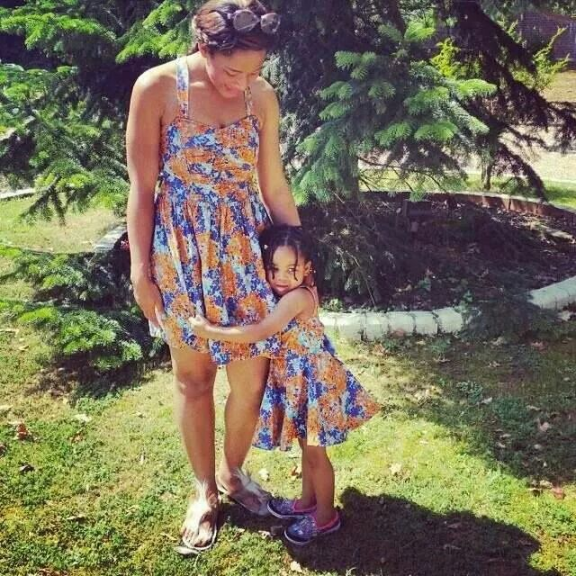 Mother and daughter in their matching ankara dresses