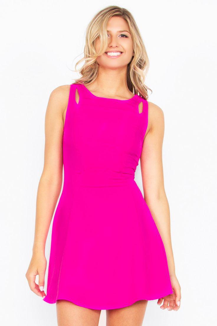 Shoulder Slices Fit and Flare Dress - Hot Pink