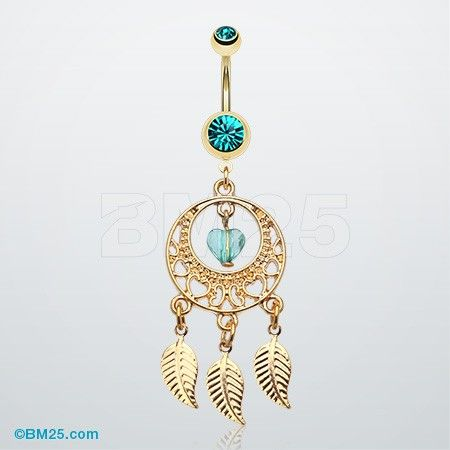 Golden Heart Dream Catcher Belly Ring