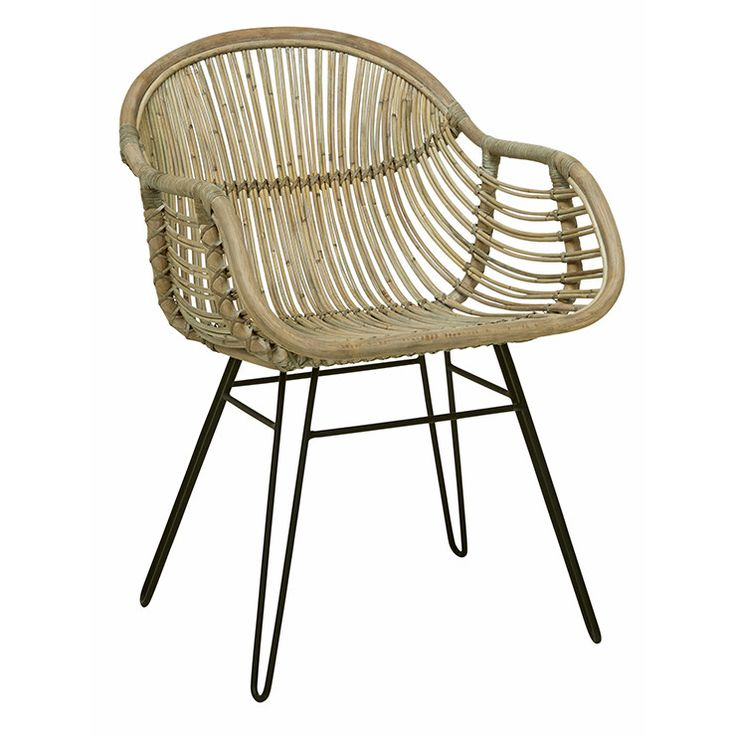 GlobeWest - Tango curve arm chair in natural rattan