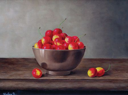 Barbara Vanhove - Rips Cherries in a Copper Bowl