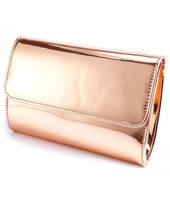 b310de2808 Designer Mirror Metallic Women Clutch Patent Evening Bag - Rose Gold -  CV1882HHH3Z #Bags #Handbags #ClutchesBags #EveningBags #Style