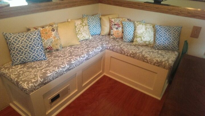 Banquette Bench seating John helped make. I made the ...