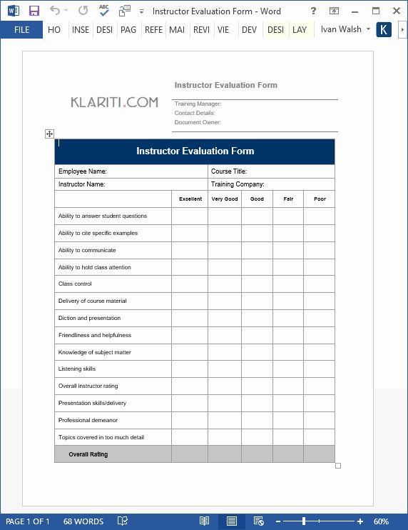 Sample Training Plan Template In 2020 Training Evaluation Form