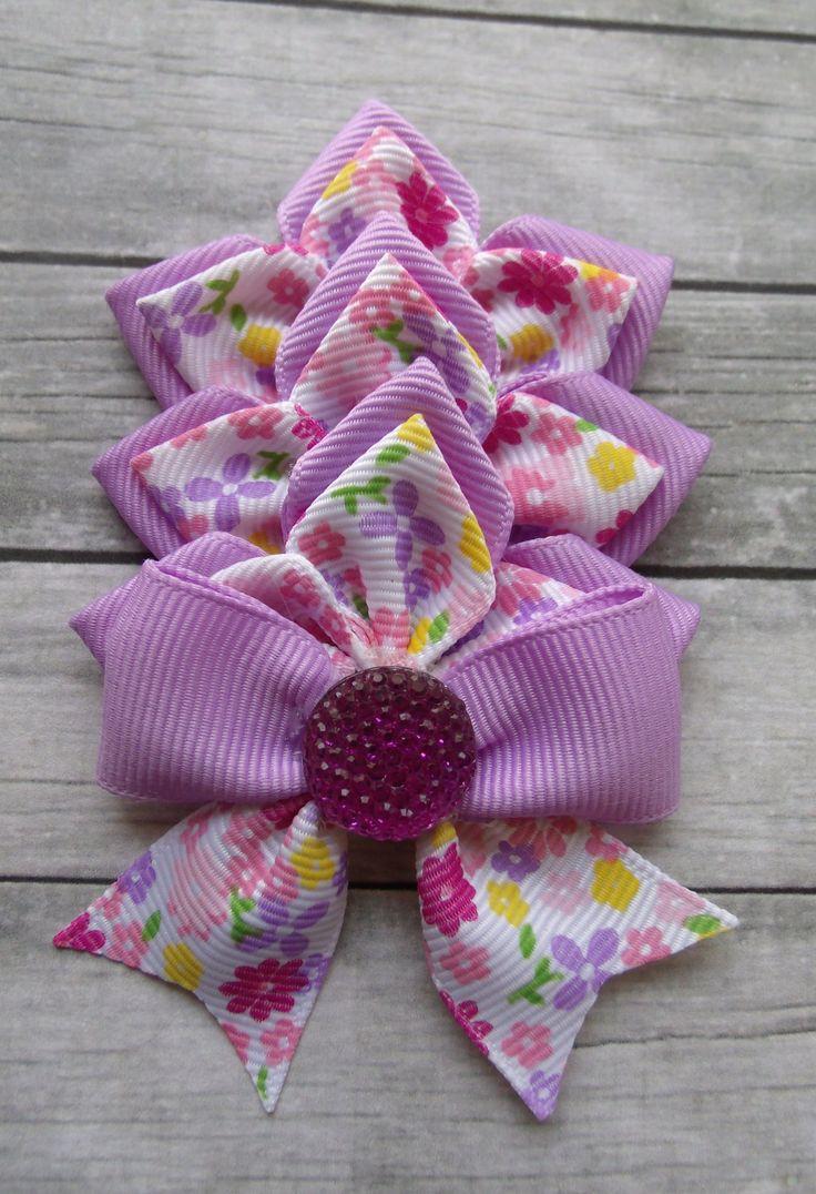 Dahlia Flower Ribbon Bow. Great on headbands or clips. A spin on the single Dahlia Flowers. x