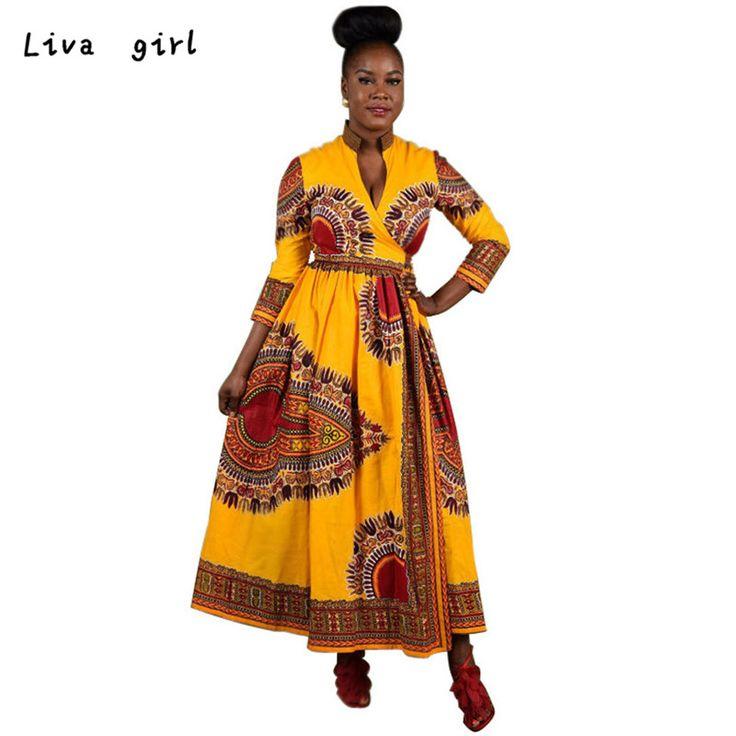 Fashion 2016 Women Cloak African Print Dress Casual Straight Long Sleeve Dresses V-Neck Bodycon Stretch Brand Vestidos Oct31