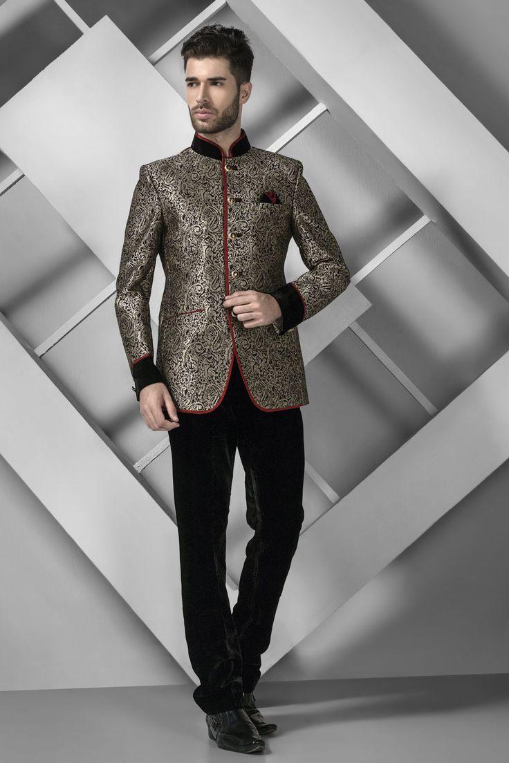 Antique Gold Brocade Suave Jodhpuri Suit With Mandarin