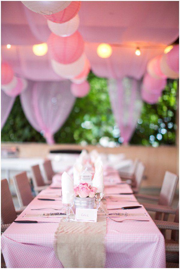 Pink white wedding lanterns  | Photography © Caught the Light via French Wedding Style