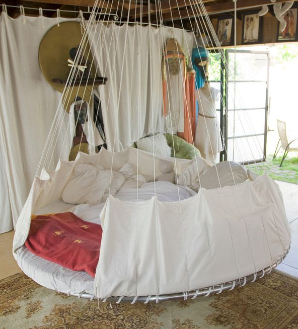 I obsessed with the hanging trampoline beds!