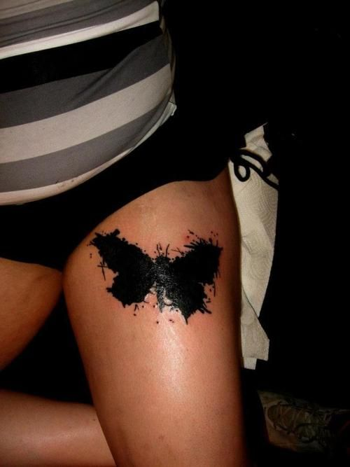 Black Paint Splatter Tattoo Butterfly ink splash cover-up
