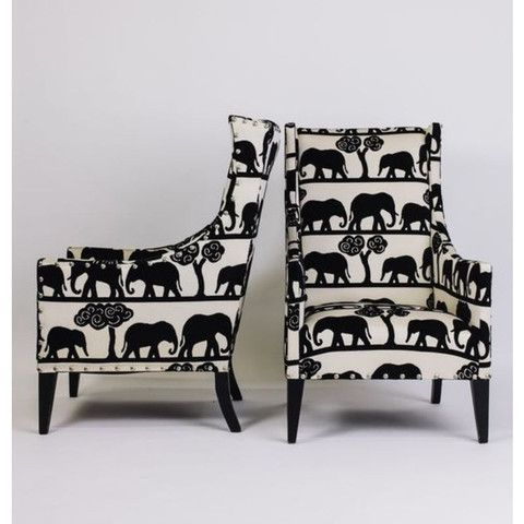 Wing Back Chairs With Elephant Print Pattern Print Patterns