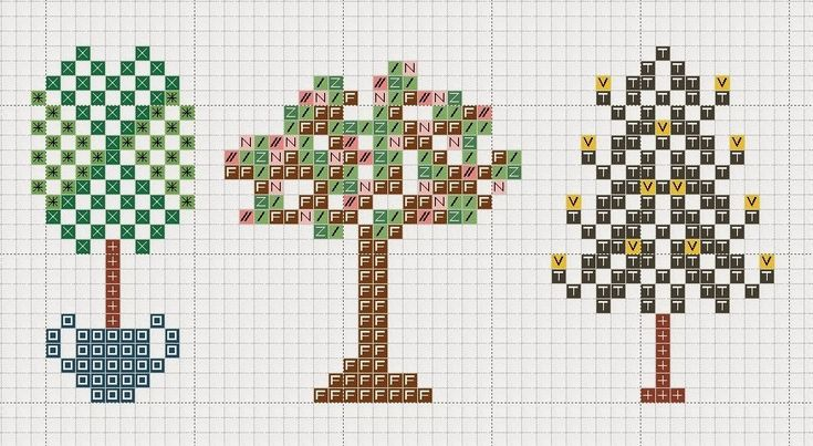 hancock's house of happy: A Thing as Lovely as a Tree: Three Tree Cross Stitch Motifs
