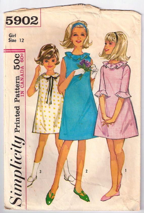 Vintage Girl's Dress Pattern  Simplicity 1960's