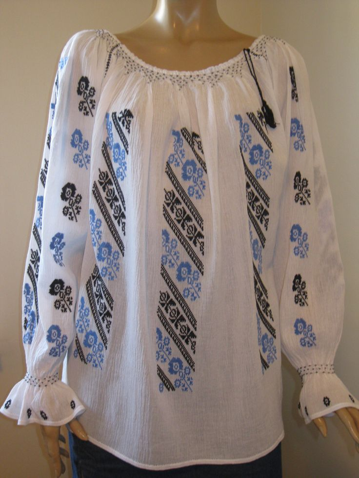 Beautiful hand embroidered Romanian blouse .  For sale at www.greatblouses.com