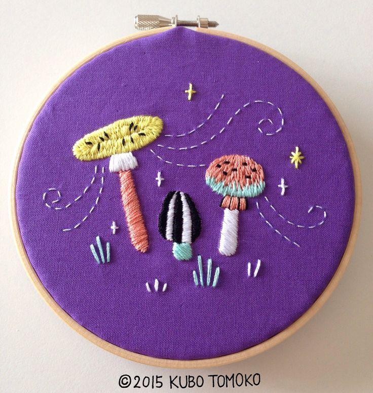 #KuboTomoko #Crafts #刺しゅう #刺繍 #embroidery #handmade #ハンドメイド #illustration #イラストレーション #mushrooms #きのこ
