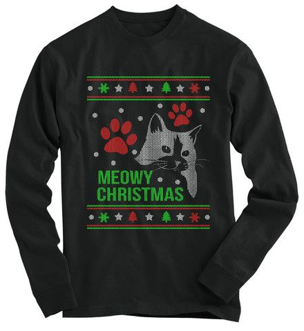 trainers hate him cambridge Meowy Christmas  cat lover Ugly Christmas sweater
