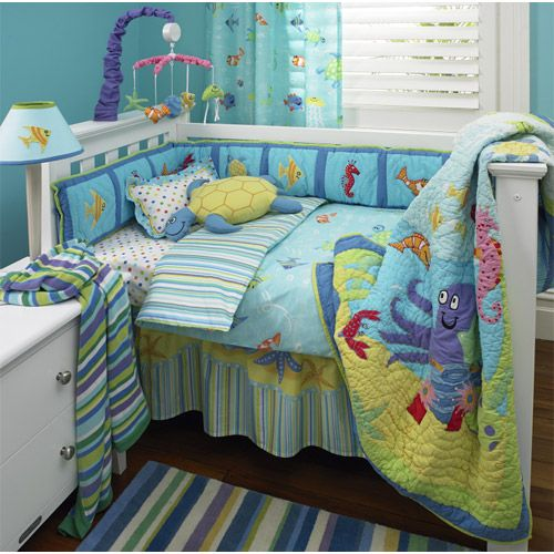 Reef 4pc Crib Set Freckles Nursery Bedding Fish Beach
