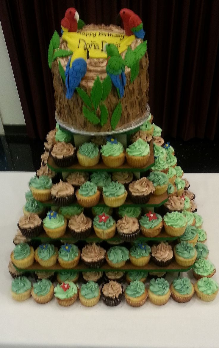 Parrot Birthday Cake With Cupcakes Cakehag Com Art And