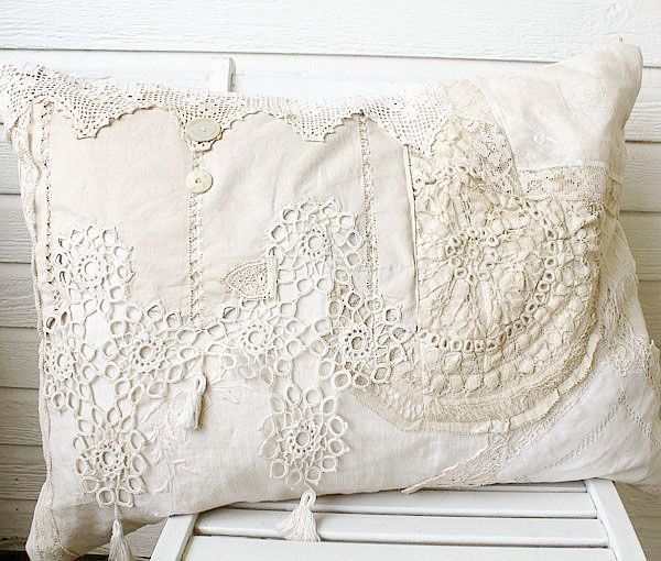 Handmade Vintage Lace Pillow,  take some of Great Grandma's old buttons and lace and make a pillow or two.