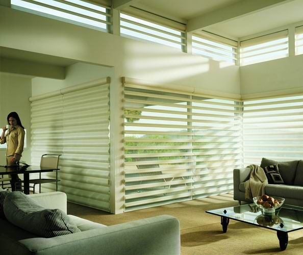 Dramatic light control in this modern living room with the unique & stunning Luxaflex® Pirouette® Shadings