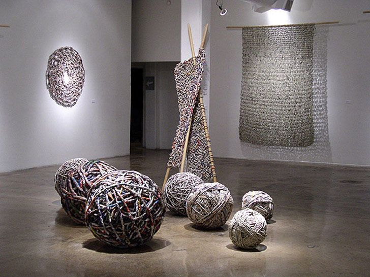 Italian artist / ecologistIvano Vitali combines newspaper recycling and knitting to produce extraordinarily-woven clothing and objects.